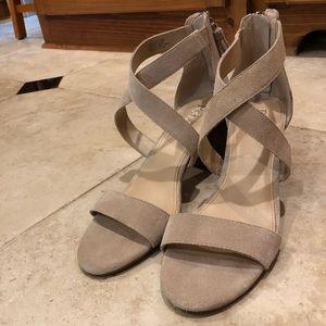 Reba Tan Suede Sandal with Medium Heel